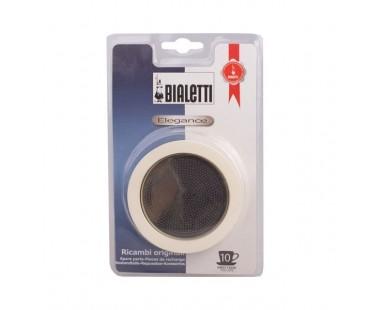 Sada těsnění Bialetti pro nerezové moka konvice - 3 těsnění + 1 sítko, na 10 šálků