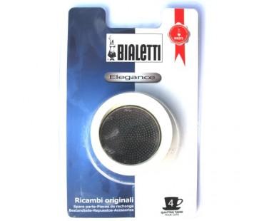 Sada těsnění Bialetti pro nerezové moka konvice - 3 těsnění + 1 sítko, na 4 šálky