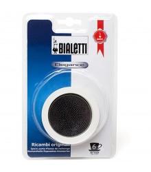 Sada těsnění Bialetti pro nerezové moka konvice - 3 těsnění + 1 sítko, na 6 šálků